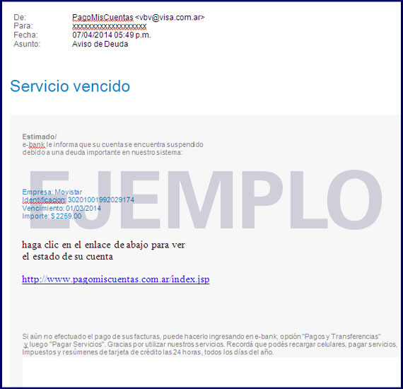 Ejemplo Phishing 2